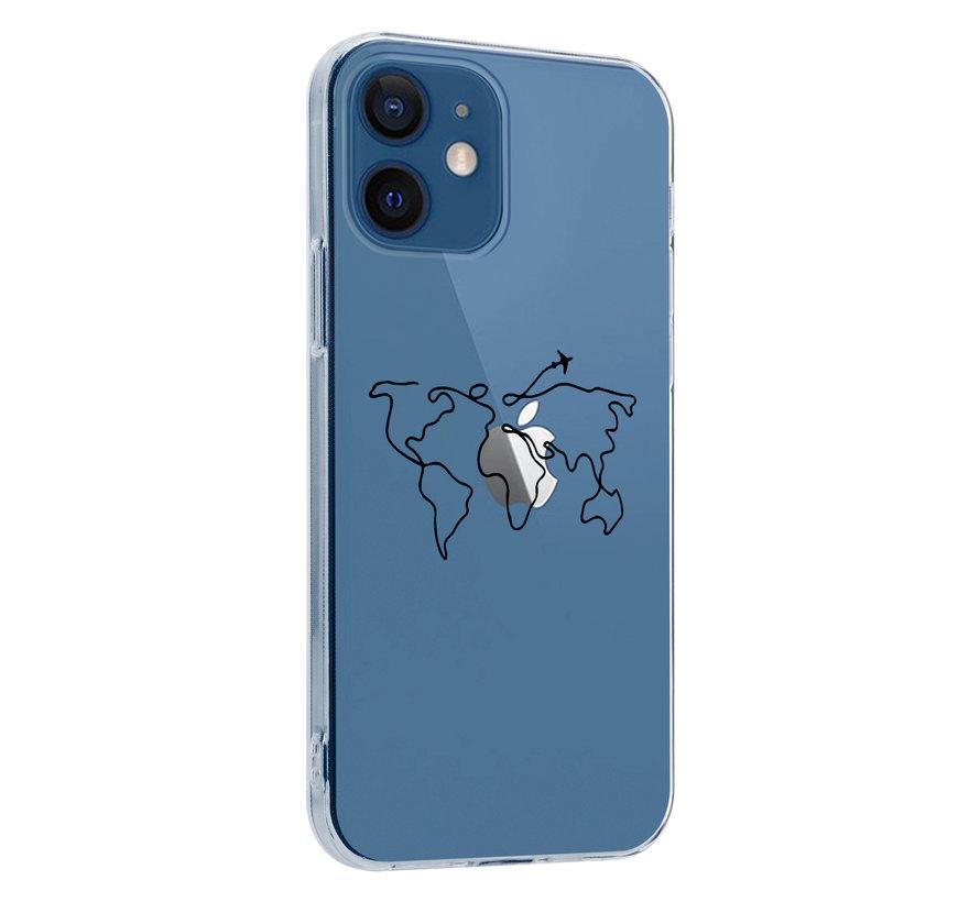 ShieldCase iPhone 12 Mini - 5.4 inch hoesje met atlas/reis patroon