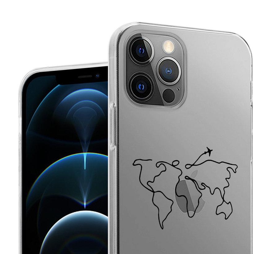 ShieldCase iPhone 12 Pro - 6.1 inch hoesje met atlas/reis patroon