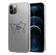 ShieldCase® iPhone 12 Pro Max hoesje met atlas/reis patroon