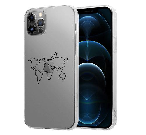 ShieldCase® ShieldCase iPhone 12 Pro Max hoesje met atlas/reis patroon
