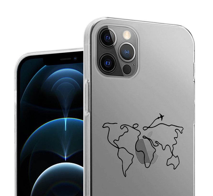 ShieldCase iPhone 12 Pro Max hoesje met atlas/reis patroon