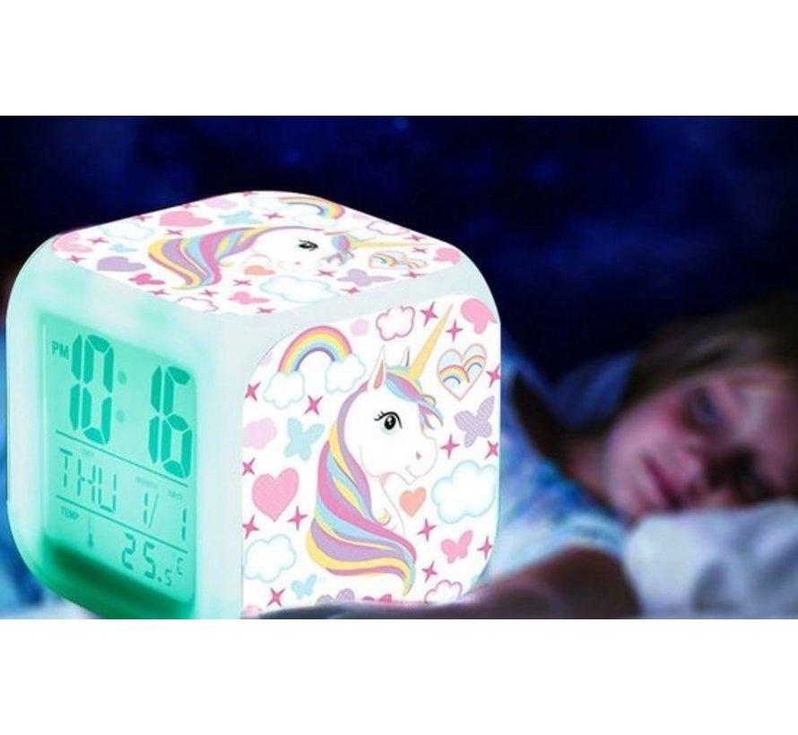Alarm wekker in 7 LED kleuren met Unicorn print
