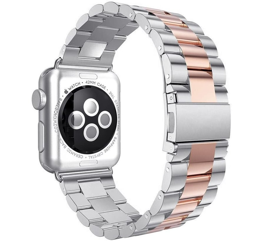 Apple Watch stalen band (zilver rosé goud)