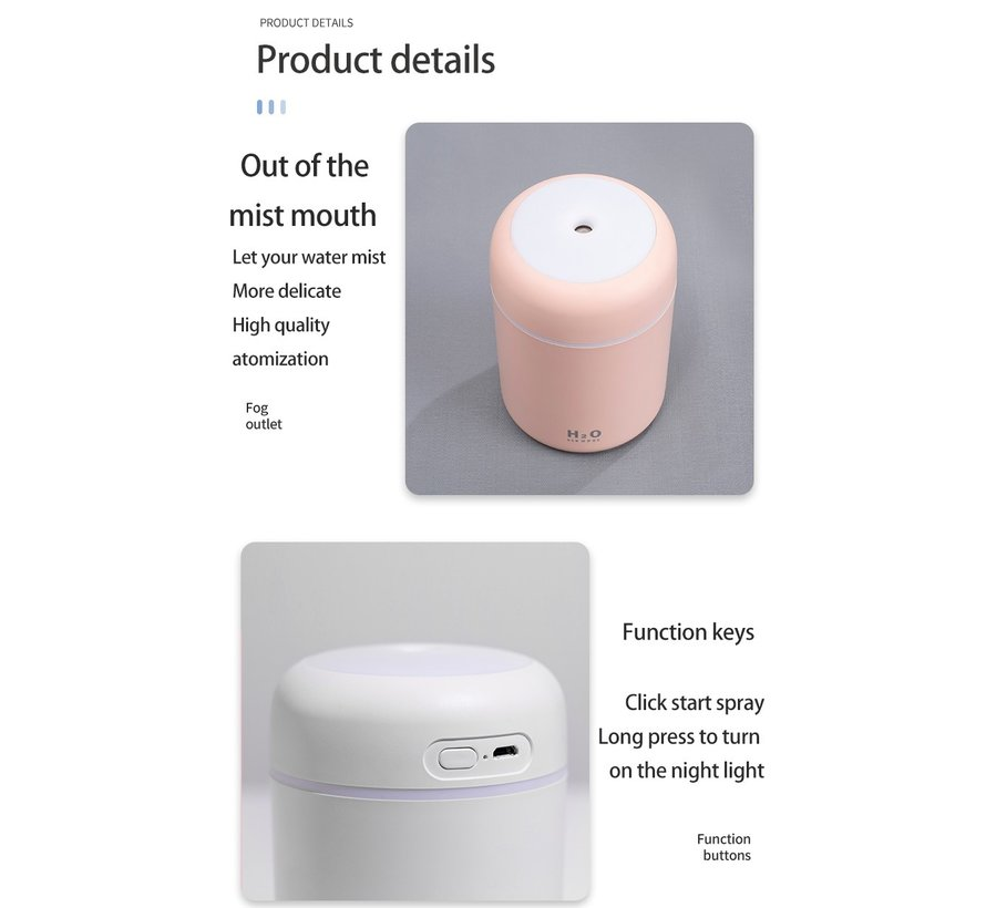 Draadloze luchtbevochtiger / Aroma diffuser / Aroma therapie 300 ml
