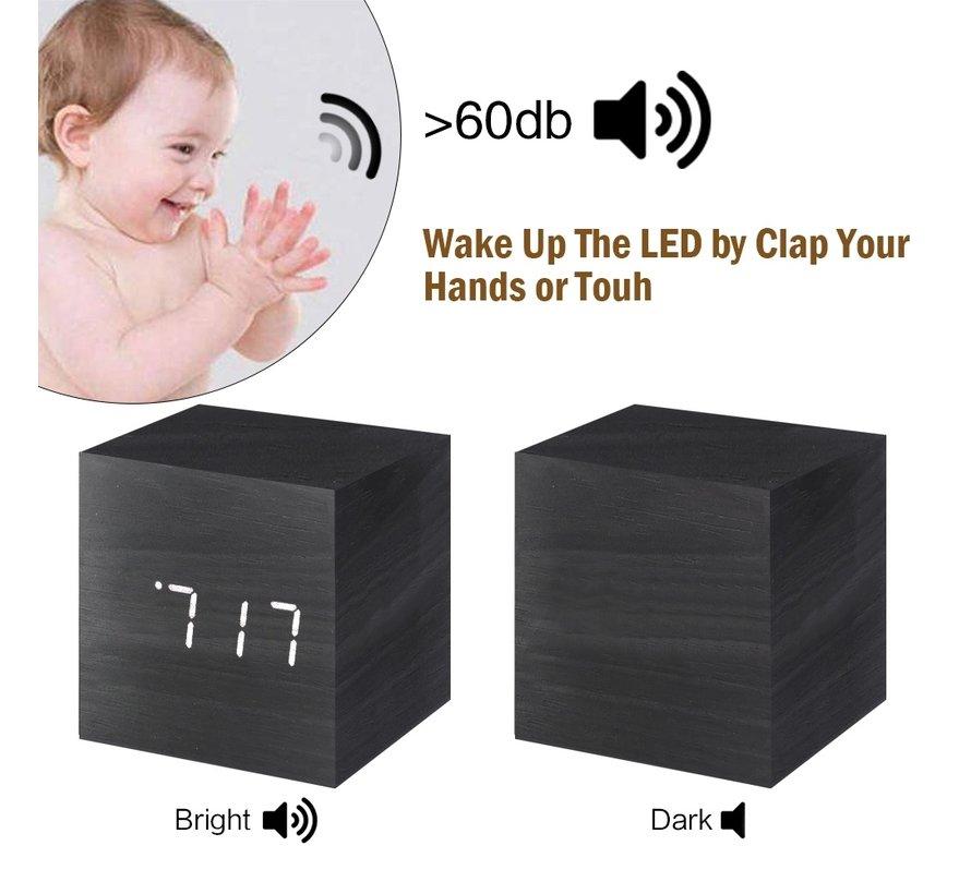 Houten digitale wekker klok / kalender / temperatuur - zwart
