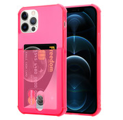 ShieldCase® Shock case met pashouder iPhone 12 Pro - 6.1 inch - Roze/rood