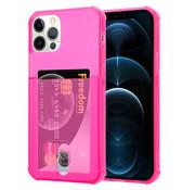 ShieldCase® Shock case met pashouder iPhone 12 Pro - 6.1 inch - Roze
