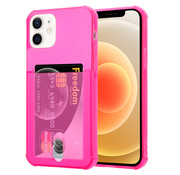 ShieldCase® Shock case met pashouder iPhone 12 - 6.1 inch - Roze