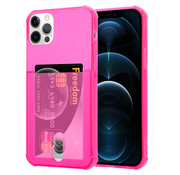 ShieldCase® Shock case met pashouder iPhone 12 Pro Max - 6.7 inch - Roze