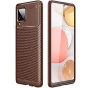 ShieldCase® Samsung Galaxy A12 carbon hoesje (bruin)
