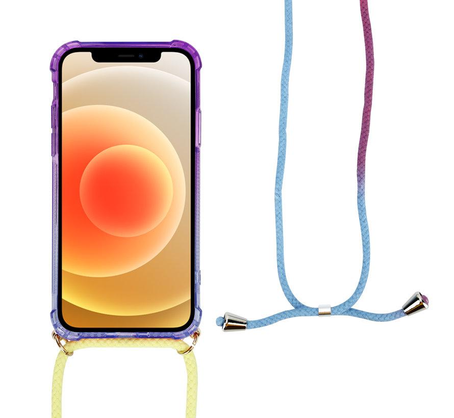 ShieldCase Hoesje met koord iPhone 12 Mini - 5.4 inch (paars/blauw)