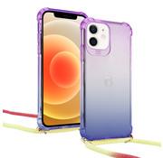 ShieldCase® Hoesje met koord iPhone 12 Mini - 5.4 inch (paars/blauw)