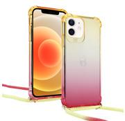 ShieldCase® Hoesje met koord iPhone 12 - 6.1  inch (geel/roze)