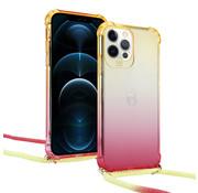 ShieldCase® Hoesje met koord iPhone 12 Pro - 6.1  inch (geel/roze)