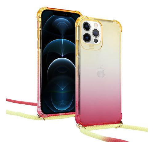 ShieldCase® ShieldCase Hoesje met koord iPhone 12 Pro - 6.1 inch (geel/roze)