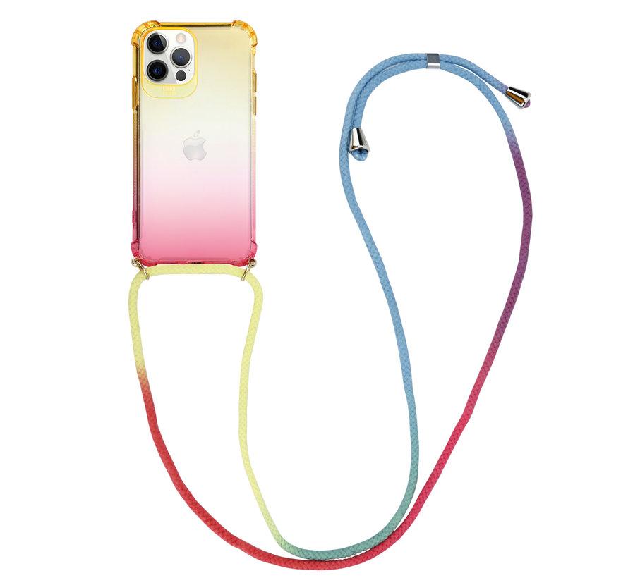 ShieldCase Hoesje met koord iPhone 12 Pro - 6.1 inch (geel/roze)