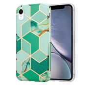 ShieldCase® Green Pattern Marmer iPhone Xr hoesje (groen)
