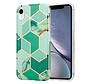 ShieldCase Green Pattern Marmer iPhone Xr hoesje (groen)