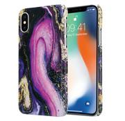 ShieldCase® iPhone X / Xs hoesje marmer (paars)
