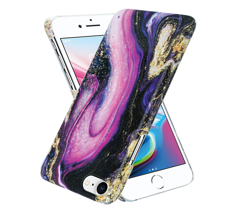 ShieldCase Galaxy Marmer iPhone 7 / 8 hoesje (paars)