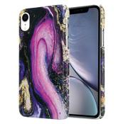 ShieldCase® iPhone Xr hoesje marmer (paars)