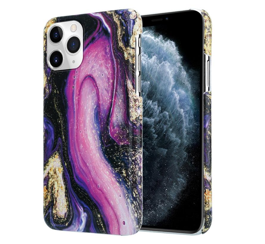 ShieldCase Galaxy Marmer iPhone 12 - 6.1 inch hoesje (paars)