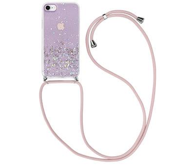 ShieldCase® ShieldCase Born To Sparkle iPhone SE 2020 hoesje met koord (roze)