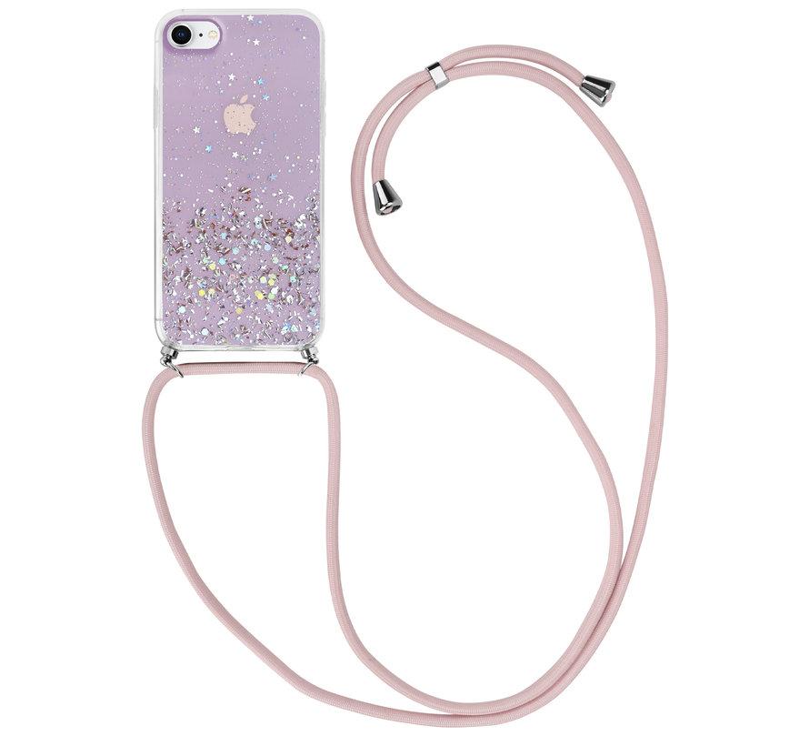 ShieldCase Born To Sparkle iPhone SE 2020 hoesje met koord (roze)