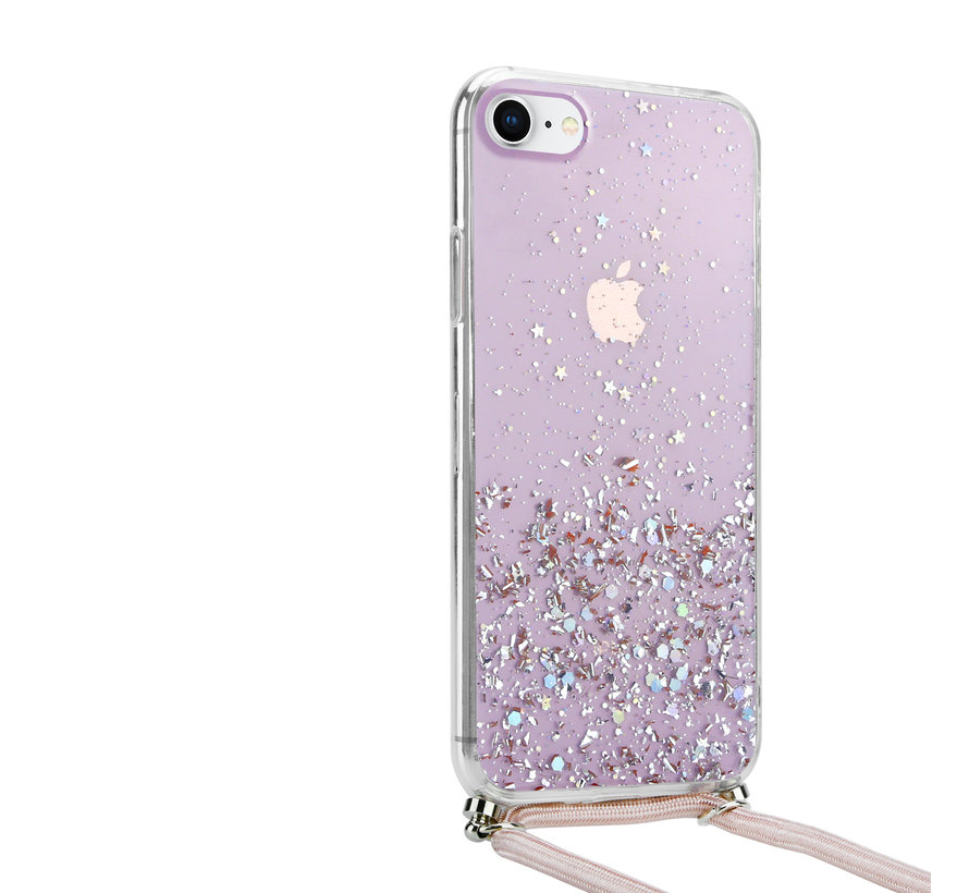 ShieldCase Born To Sparkle iPhone 7/ 8 hoesje met koord (roze)