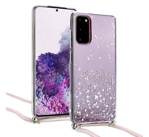 ShieldCase® ShieldCase Born To Sparkle Samsung Galaxy S20 hoesje met koord (roze)