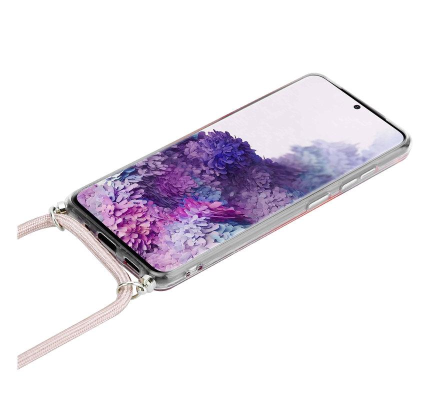 ShieldCase Born To Sparkle Samsung Galaxy S20 hoesje met koord (roze)
