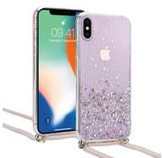 ShieldCase® Born To Sparkle iPhone X / Xs hoesje met koord (roze)