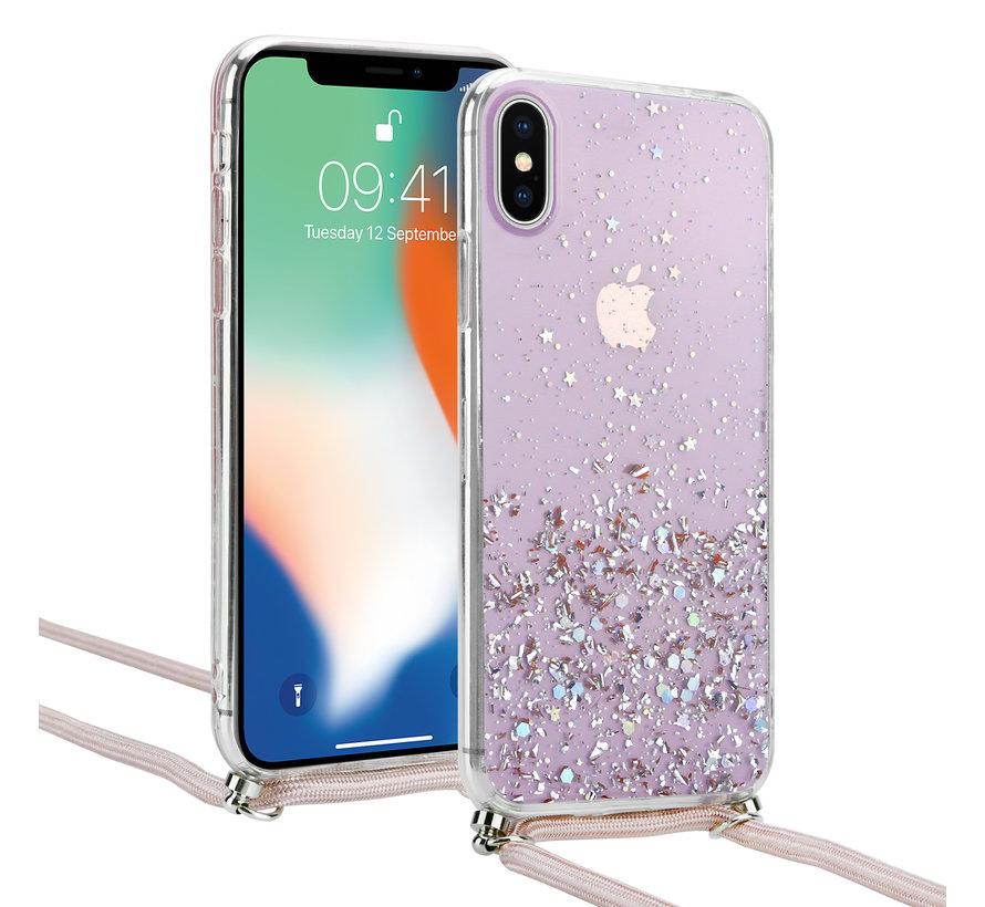 ShieldCase Born To Sparkle iPhone X / Xs hoesje met koord (roze)