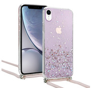 ShieldCase® Born To Sparkle iPhone Xr hoesje met koord (roze)