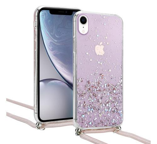 ShieldCase® ShieldCase Born To Sparkle iPhone Xr hoesje met koord (roze)
