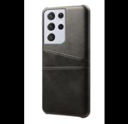 ShieldCase® Vintage case met pashouder Samsung Galaxy S21 Ultra (zwart)