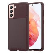 ShieldCase® Samsung Galaxy S21 Plus carbon hoesje (bruin)