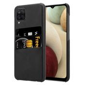 ShieldCase® Vintage case met pashouder Samsung Galaxy A12 (zwart)