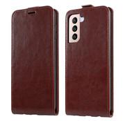ShieldCase® Samsung Galaxy S21 Plus flip case (bruin leer)
