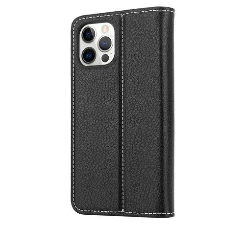 ShieldCase® ShieldCase Genuine leather case iPhone 12 Pro (zwart)