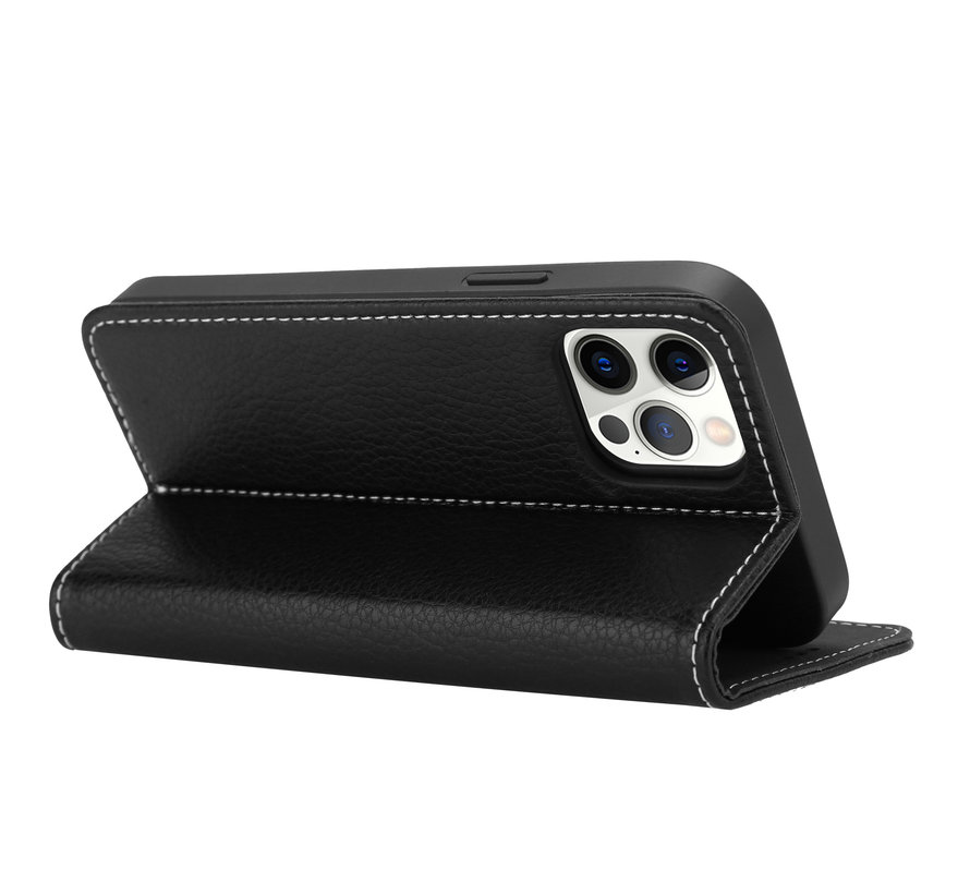 ShieldCase Genuine leather case iPhone 12 Pro (zwart)