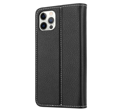 ShieldCase® ShieldCase Genuine leather case iPhone 12 Pro Max (zwart)