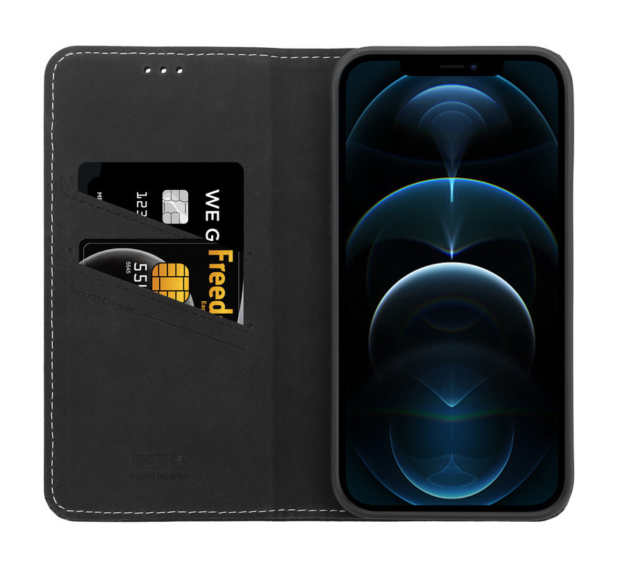 ShieldCase Genuine leather case iPhone 12 Pro Max (zwart)