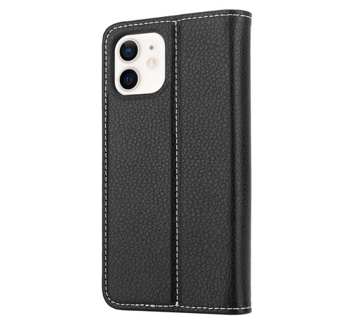 ShieldCase® ShieldCase Genuine leather case iPhone 12 (zwart)