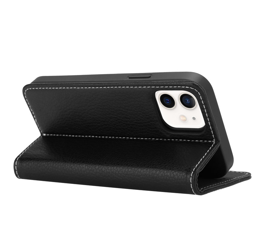 ShieldCase Genuine leather case iPhone 12 Mini (zwart)