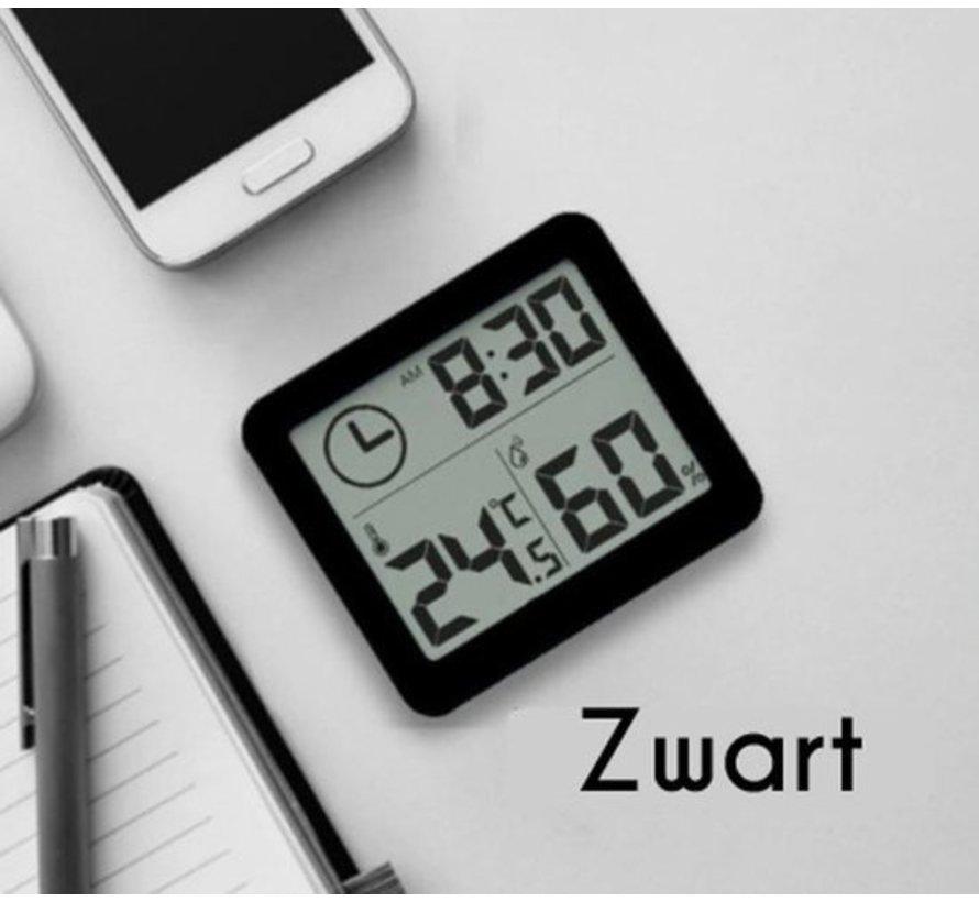 Digitale thermometer / hygrometer / luchtvochtigheidsmeter / weerstation (zwart)