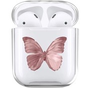 ShieldCase® Butterfly Kisses Apple Airpods case (transparant/roze)