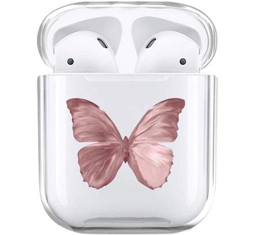 ShieldCase® Shieldcase Butterfly Kisses Apple Airpods case (transparant/roze)