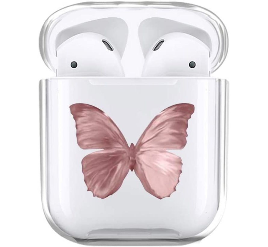 Shieldcase Butterfly Kisses Apple Airpods case (transparant/roze)