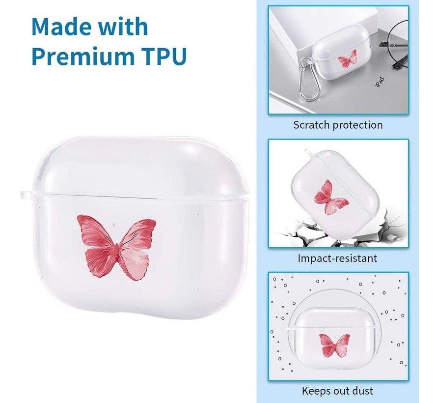 Shieldcase Butterfly Kisses Apple Airpods Pro case (transparant/roze)